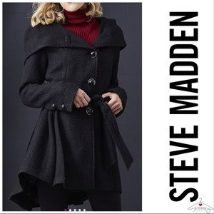 Steve Madden Black Belted & Hooded Trench Coat